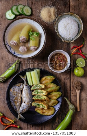 Thai Style mackerel with spicy chili  sauce #1357051883