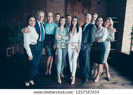 Full length body size photo different age mixed race multi ethnic business people stand close she her he him his together best brigade arrange new project won competition formal wear jackets shirts Royalty-Free Stock Photo #1357187654