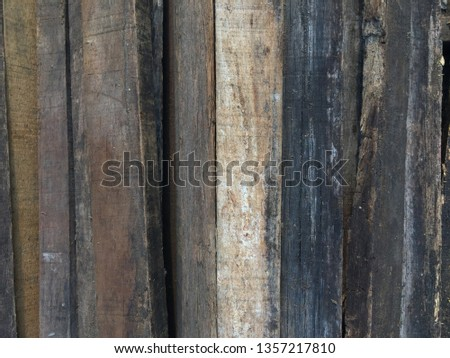 Close up old wooden floor background. Arrange the wood in a horizontal direction. #1357217810
