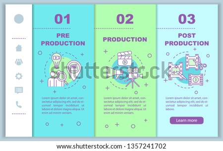 Video production onboarding mobile web pages vector template. Film making. Responsive smartphone website interface idea with linear illustrations. Webpage walkthrough step screens. Color concept