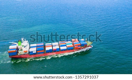 Cargo ships with full container receipts to import and export products worldwide #1357291037