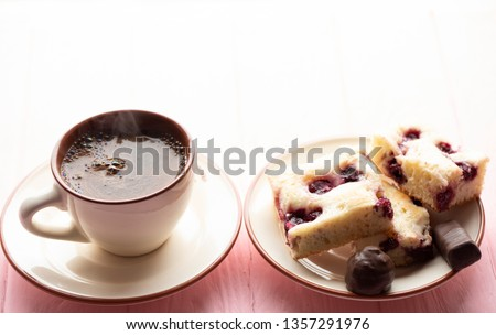 Coffee americano and apple pie on wooden table #1357291976