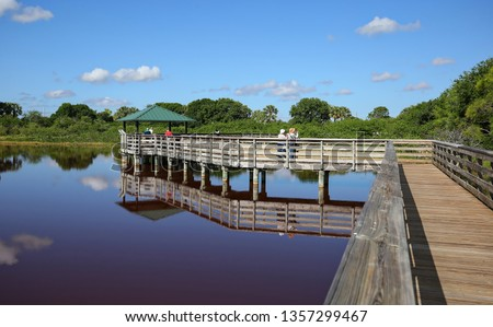 Wakodahatchee Wetlands a birdwatchers paradise.  The Wetlands provides breeding habitat for more than 150 bird species and is located in Delray Beach, Florida, USA. #1357299467
