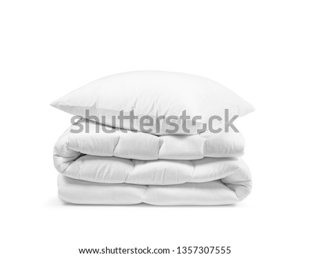 Stack of beddings on the white background, white pillow on the duvet isolated, bedding objects isolated against white background, bedding items catalog illustration, bedding mockup #1357307555
