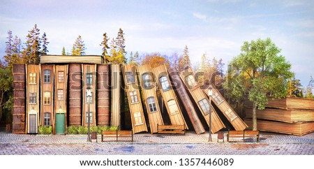Library concept. Fantasy literature. Stack of old books as street of the city. 3d illustration