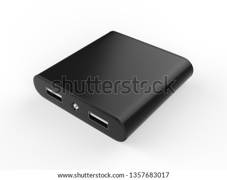 Blank Black Portable power bank for Smart phone isolated on white background, 3d illustration. #1357683017