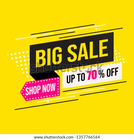 Sale banner modern template design, Mega big sale special offer up to 70% off. end of season special offer banner isolated on yellow background. vector illustration. #1357766564