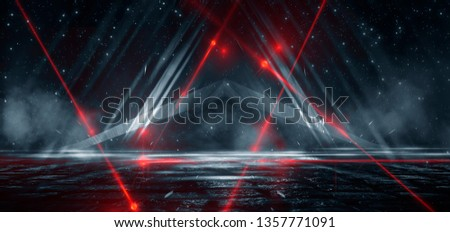Dark street, reflection of neon light on wet asphalt. Rays of light and red laser light in the dark. Night view of the street, the city. Abstract dark blue background. #1357771091