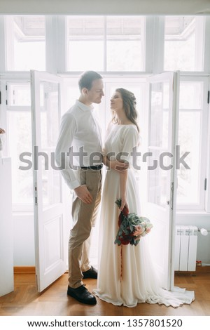 A pair of European-style fine art. Wedding photo shoot in the light Museum.  #1357801520