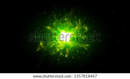 Futuristic space particles  in bright round energy structure. space orb VFX design element. Abstract colorful lights background animation energy ray of power electric magnetic. #1357818467