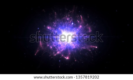 Pink & purple futuristic space particles  in bright round energy structure. space orb VFX design element. Abstract colorful lights background animation energy ray of power electric magnetic. #1357819202