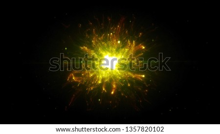 Yellow futuristic space particles  in bright round energy structure. space orb VFX design element. Abstract colorful lights background animation energy ray of power electric magnetic. #1357820102