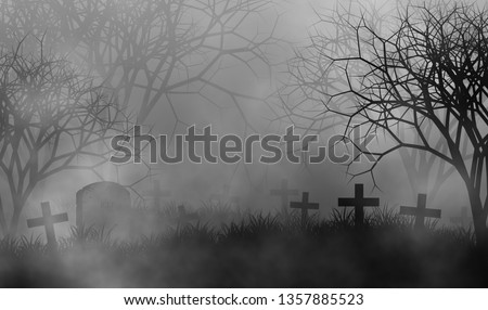 Scary cemetery in creepy forest illustration halloween concept design background with grass field, crosses, tombs, graveyard, fog, and creepy trees. #1357885523