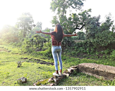 Alone girl with nature #1357902911