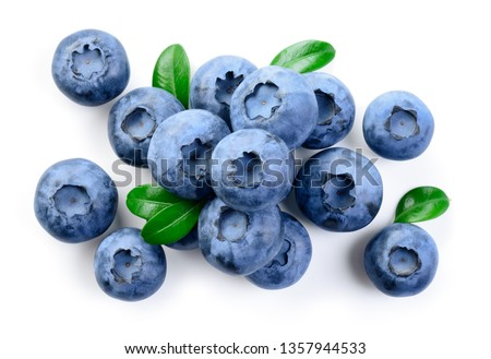 Blueberries. Blueberry isolate on white. Top view. #1357944533