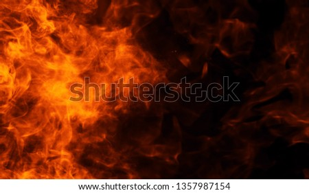 Texture of burn fire. Flames on isolated black background. Texture for banner,flyer,and card . #1357987154