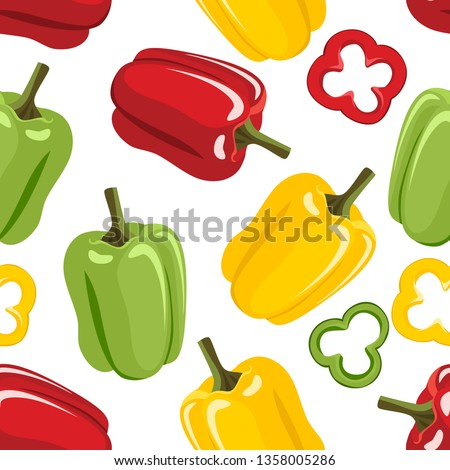 Bell pepper seamless pattern on white background. Yellow, green and red paprika, slices. Vector illustration of vegetables in cartoon simple flat style. Royalty-Free Stock Photo #1358005286
