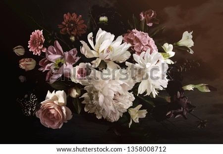 Bouquet of beautiful garden flowers on black background. Vintage. #1358008712