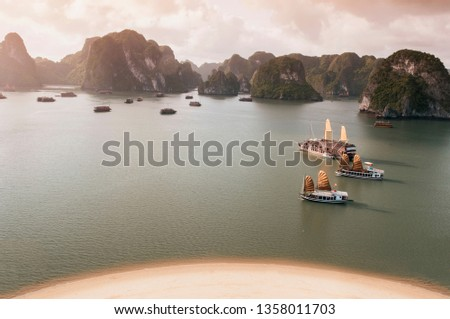 Halong bay from top view on Ti Top Island Royalty-Free Stock Photo #1358011703