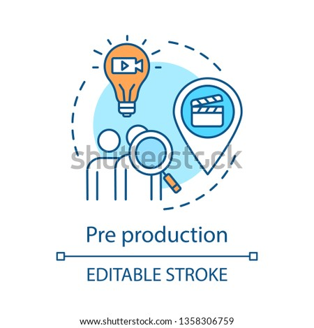 Pre production concept icon. Video planning idea thin line illustration. Audience research. Location scouting. Screenplay idea. Casting. Film making.Vector isolated outline drawing. Editable stroke