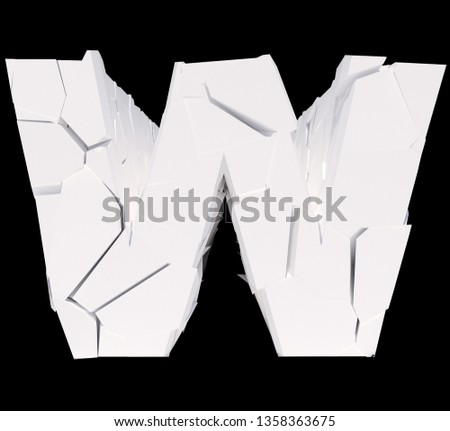 Isolated cracked alphabet letter W on a black background. 3D illustration. #1358363675