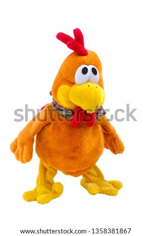 Chicken soft toy funny orange rooster, white background isolated