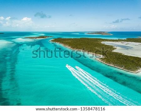 drone bird view of exuma in the bahamas. summer #1358478116