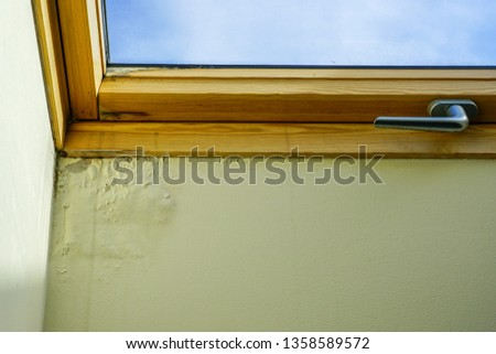 water and moisture damaged ceiling next to roof window #1358589572