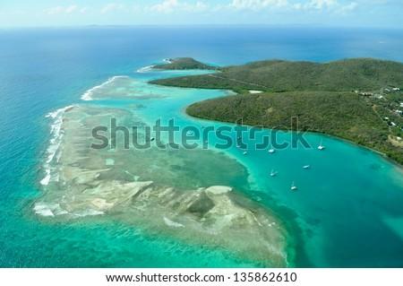 Aerial view of Culebra, Puerto Rico Royalty-Free Stock Photo #135862610