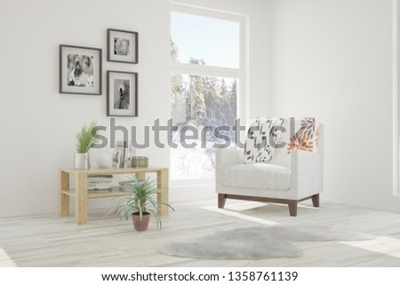White room with armchair and winter landscape in window. Scandinavian interior design. 3D illustration #1358761139