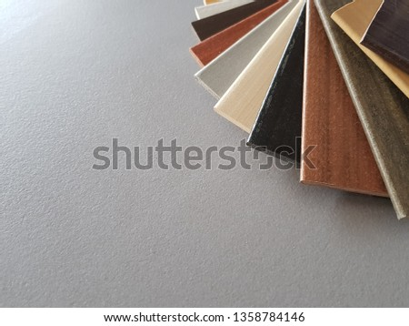 samples of material, wood , on concrete table.Interior design select material for idea. Decoration idea concept material choice.   #1358784146