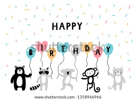 Cute hand-drawn animals on Happy B-day postcard. Cartoon bear, raccoon, koala, monkey and cat in doodle style. Vector illustration with text. Good for posters, cards, banners or ads. #1358966966
