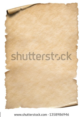 Old paper sheet isolated on white #1358986946