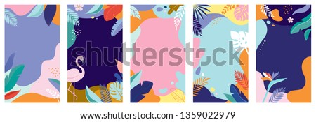 Collection of abstract background designs - summer sale, social media promotional content. Vector illustration #1359022979