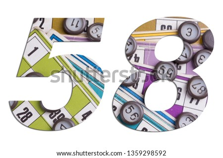 Number 58 with Lotto cards and game chips on white background #1359298592