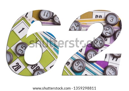 Number 62 with Lotto cards and game chips on white background #1359298811