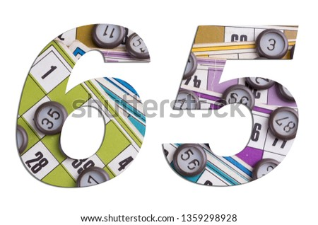 Number 65 with Lotto cards and game chips on white background #1359298928