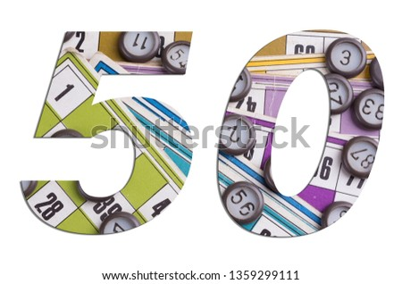 Number 50 with Lotto cards and game chips on white background #1359299111