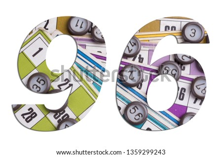 Number 96 with Lotto cards and game chips on white background #1359299243