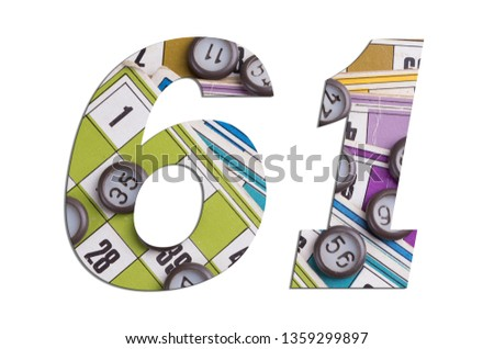 Number 61 with Lotto cards and game chips on white background #1359299897
