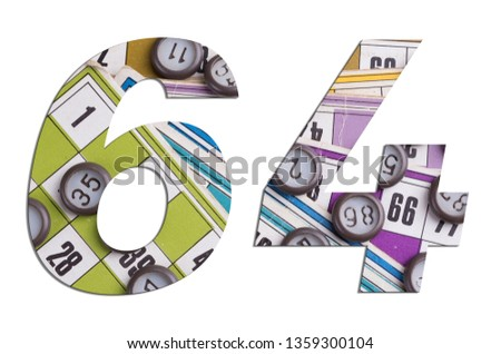 Number 64 with Lotto cards and game chips on white background #1359300104
