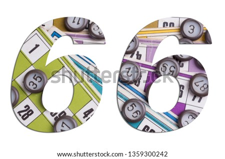 Number 66 with Lotto cards and game chips on white background #1359300242