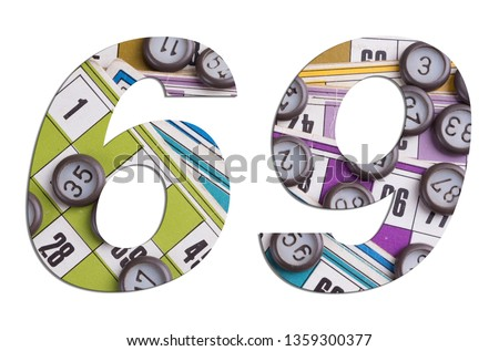 Number 69 with Lotto cards and game chips on white background #1359300377