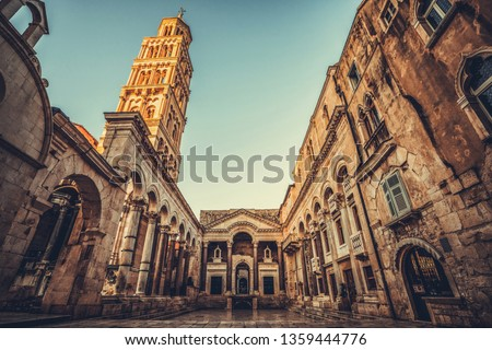 The Diocletian's Palace in Split, Croatia - Famous Diocletian Palace is ancient palace built for Emperor Diocletian in historic center of Split, Croatia. #1359444776