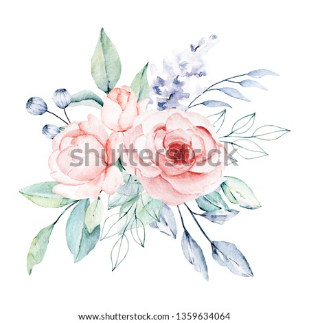 Watercolor flower bouquet. Floral clip art. Perfectly for print on invitations, cards, wall art and other. Isolated on white background. Hand paint greeting design.