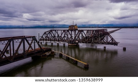 Old Dumbarton Rail Bridge, Fremont, CA.  Dumbarton rail corridor connects the East Bay and the Peninsula. connects Redwood City over to Menlo Park/East Palo Alto and then, via a wrecked rail bridge. #1359638999