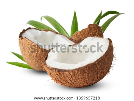 Fresh raw coconut with palm leaves isolated on white background. High resolution image #1359657218
