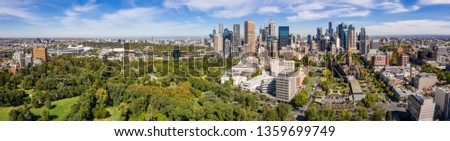 Melbourne Australia April 3rd 2019 : Aerial panoramic view of the beautiful city of Melbourne from Fitzroy Gardens #1359699749