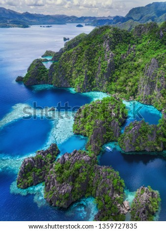 Coron island, Palawan, Philippines, aerial view of Twin Lakes and limestones cliffs. #1359727835