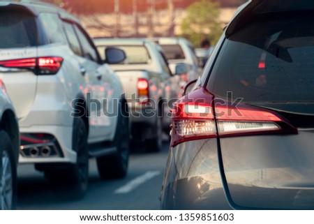 ฺBrake cars on asphalt roads during rush hours for travel or business work. #1359851603
